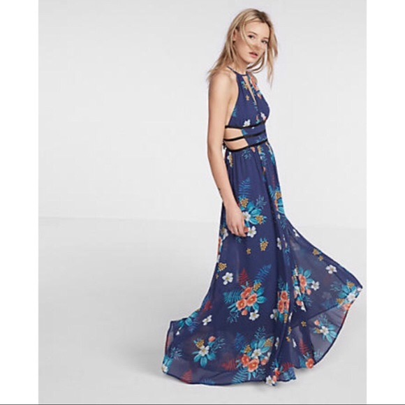 bb11207510e Express Floral Strappy Cut-Out Plunge Maxi Dress
